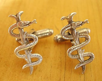 Sterling Silver Medical Cufflinks Staff Of Asclepius