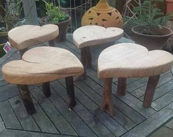 Beautiful heart shaped oak stools