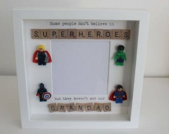 Personalised SUPERHERO LEGO Dad Daddy Grandad Frame 1st Fathers Day Present Gift