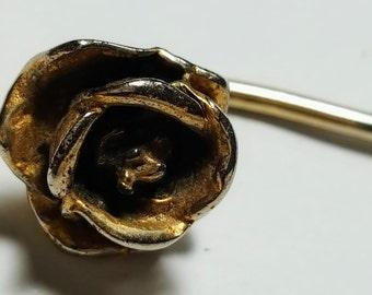 Vintage Flower Stick Pin/Flower Pin/Rose and Gold Metal Stick Pin/Lapel Pin