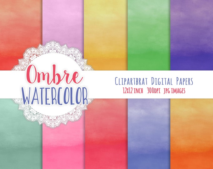 OMBRE WATERCOLOR Digital Paper Pack Pink Purple Blue Green Commercial Use Digital Paper Rainbow Watercolour Textures Digital Scrapbook Paper