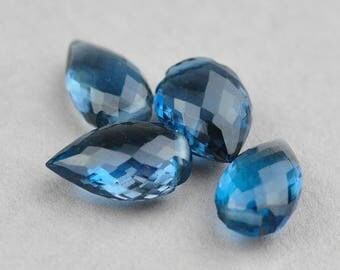 AAA London Blue Topaz Faceted Conch Pear Briolettes