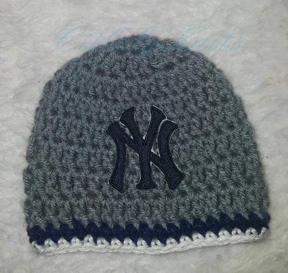 newborn baseball hat new york yankees crochet