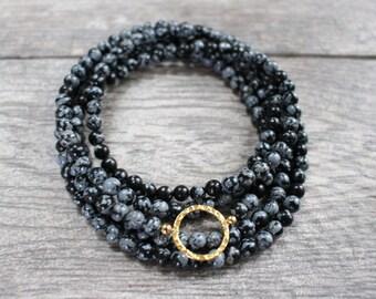 Wrap Choker Necklace, Black Beaded Choker Necklace, Long Black Beaded Necklace, Black Beaded Wrap Necklace, Long Black Necklace