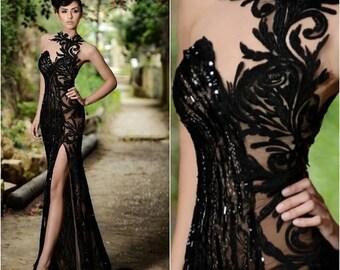 Elegant  Black Beaded Sequin Applique Split Evening Gown Prom Sizes 4-16