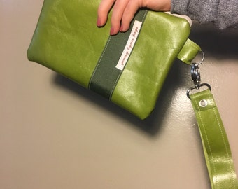 Green leather handmade wristlet set