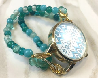 Chevron, Turquoise and Black Watch Face with Beaded Watch Band -  Interchangeable