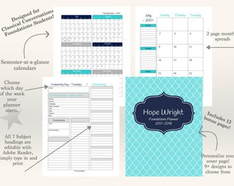 CC Foundations Homeschool Student Planner 2017-18 Editable Subjects Colors: Navy Teal