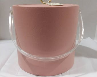 Vintage Pink Vinyl Ice Bucket with Lucite Swing Handle
