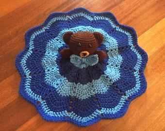 Crochet Bear Lovey, Security Blanket