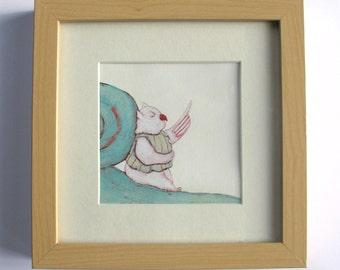Original drawing, Handmade drawing, Illustration, Wall decor kidsroom, Animal, Owl