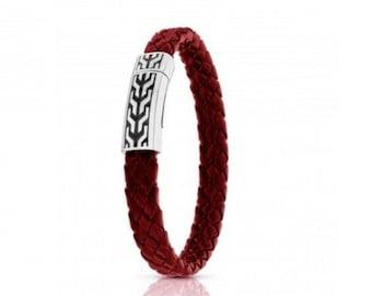 Red Leather Bracelet, Men Leather Bracelet, Magnetic Clasp Bracelet, red braided bracelet, silver leather bracelet, silver clasp bracelet