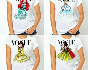 Women's Disney Vogue Princess Shirt - Ladie's Vogue Disney Princess Shirt - Disney Princess Vogue Tank Top - Mommy & Me Disney Vogue Shirts