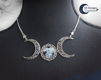 Triple moon necklace Black and white jewelry Moon jewelry Fantasy necklace Gothic necklace Moonwitch necklace Moongoddess necklace For her