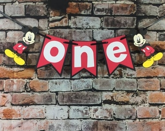 Mickey Mouse One Banner Happy Birthday Banner High Chair Banner Photo Prop Mickey Mouse Banner Disney Mickey Mouse