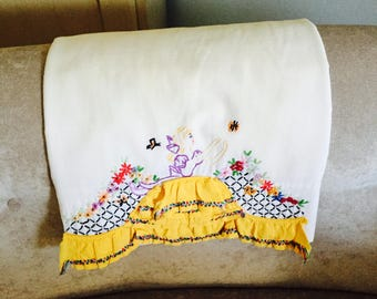 Two Vintage Pillowcases Embroidered