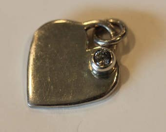 Sterling silver cz cubic zerconia heart charm pendant