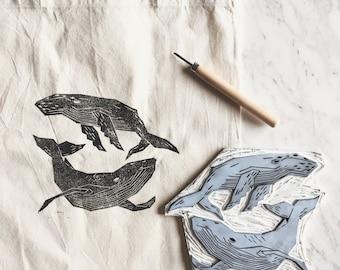 Linocut Printed Tote Bag - Geometric Whales