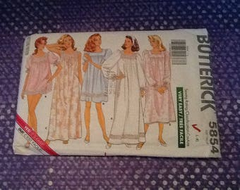 Vintage 1987 Butterick 5854 nightgown pattern in size L and XL, uncut with 5 different vintage nighties to make, long or short, your choice