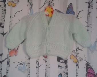 SALE Mint Cardigan, 3 - 6 months, Baby Boy, Baby Girl, Girls Cardigan, Boys Cardigan, Handmade, Hand Knitted, Baby Gift