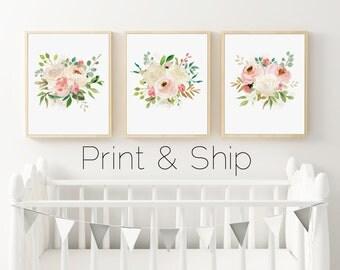 Floral Watercolor Nursery Prints, Set of 3 Prints, Watercolor Roses, Boho Nursery Art, PRINTED ART, Pink Peonies, Ivory Roses, Cream Floral