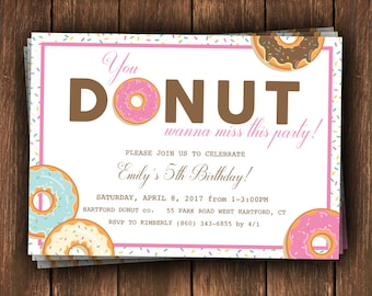 Donut Birthday, Donut Birthday Party, Donut Invitation, Donut First Birthday, Donut Birthday Invitation, You Donut want to miss this party