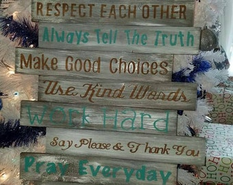 Family Rules sign, Family pallet sign, custom family wood sign, home and living, family rules, wall art, wall hanging, family sign