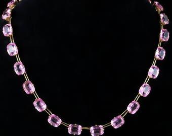 Antique Pink Paste Necklace 18ct Gold Gilt