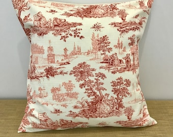 "French Toile Antique Style Romantic Scene Cushion Cover Throw Pillow. 18"" (45cm). Cushion covers Australia."