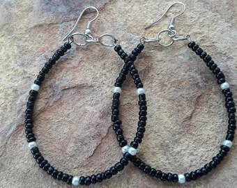 Big hoop earrings oval hoop earrings big earrings stylish earrings fashion earrings modern earrings beaded earrings handmade earrings