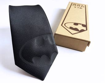 Batman Silk Tie Black Edition - Slim Tie - Wedding Tie, Christmas Gift, Fathers Day Gift, Birthday Gift- FREE UK Shipping!