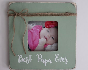 Papa Picture Frame, Best Papa Ever Picture Frame, Rustic Papa Frame, Papa Gift, Grandpa Gift