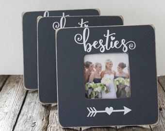 Custom Bridesmaid Picture Frames, Set of 3, Bestie Frames, Bridesmaid Gifts, Grey Picture Frames