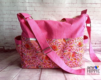 Diaper Bag, Nappy Bag, Overnight Bag, Pink Baby Bag, Weekender Bag, Travel Bag, Fabric Bag