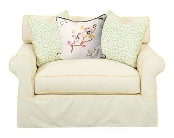 White Linen Pillow, Hand Painted Pillow, Pillow with Piping, Irish Linen Pillow