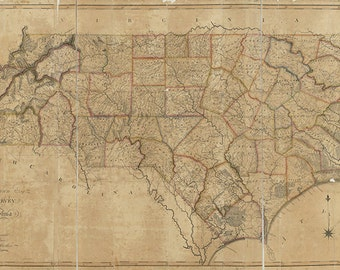 Map of North Carolina NC, 1808.  Restoration Hardware Home Deco Style Old Wall Map. Vintage Reproduction