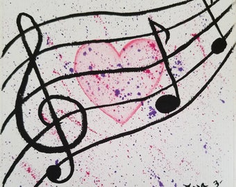 Heart of Music original watercolors painting on acid free paper 6x6 inches