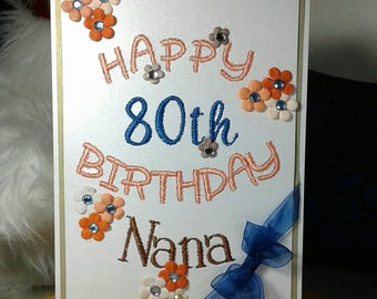 Embroidered Cards. Floral 30th 40th 50th 60th 70th 80th 90th Birthday Greeting Card Keepsake For Mom Gran Nana Sister Aunt Friend