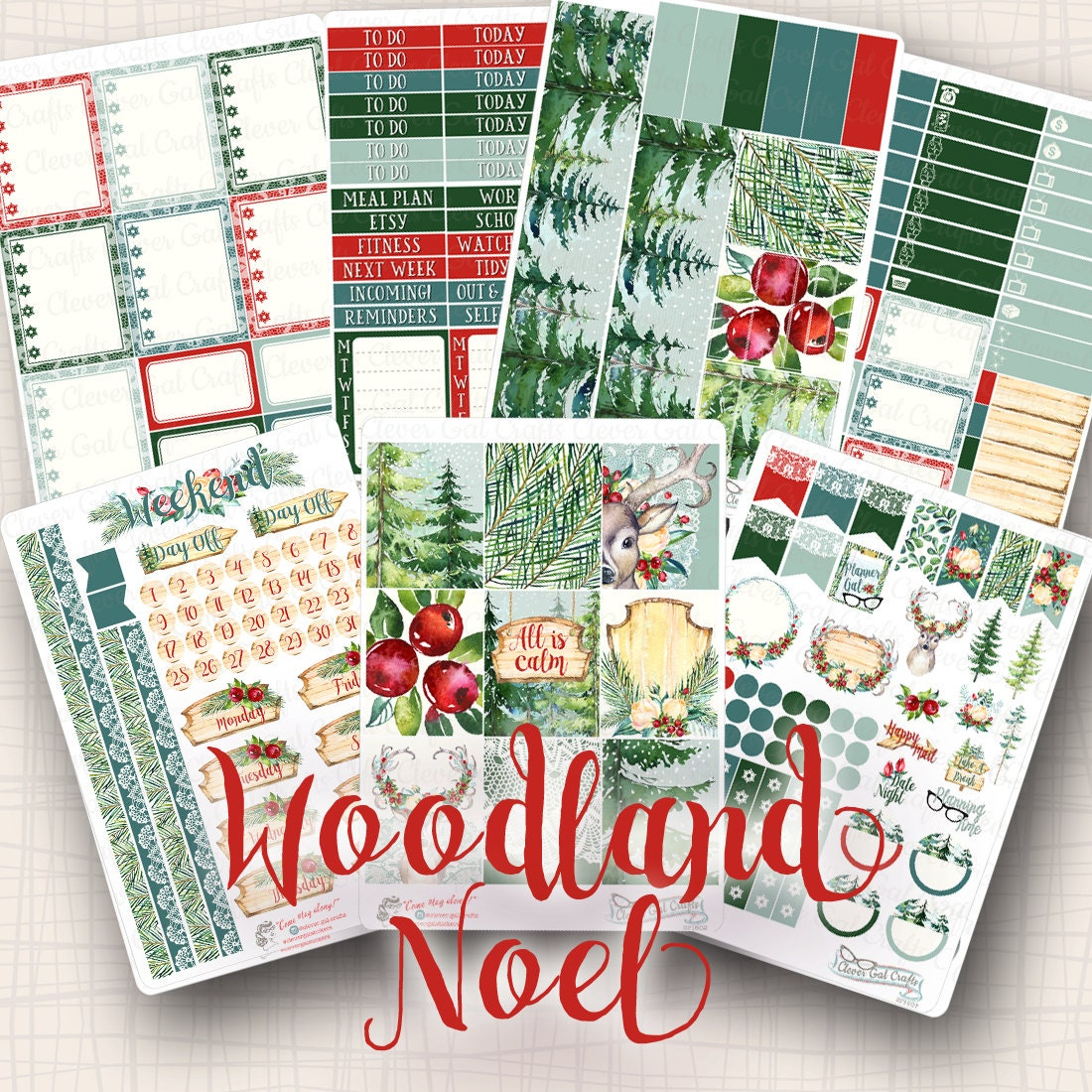 ec weekly sticker kit woodland noel 224 stickers total. Black Bedroom Furniture Sets. Home Design Ideas
