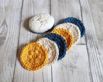 Reusable face pads. Face scrubbies. Reusable cotton pads. Facial scrub pads. Cotton face pads. Crochet face pads.