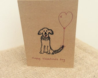 Dog themed Valentine's Card- dog and heart balloon