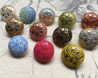Highlight: 12 old colorful collector / glass buttons - floral design - art nouveau pattern