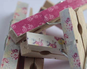 Decorative wooden pegs, 6 pcs, shabby chic, floral, clothes pegs, wedding pegs, placecard holder, decorated clothespins