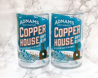 Pair of Upcycled Adnams Copper House Gin Bottle Tumblers / Glasses