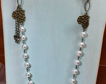Antique brass and Pearls and heart necklace