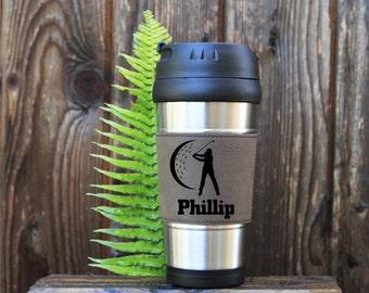 Travel mug, Leather Travel Mug, Leather Coffee Mug, Personalized Travel Mug, Personalize Coffee Mug, Coffee Mug,Customized, Gift for golfers