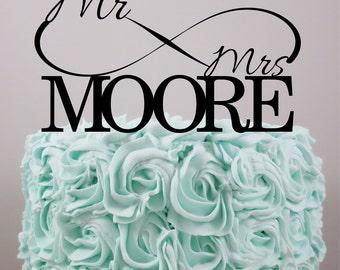 Wedding Cake Topper, Personalized Cake Topper, Love cake topper, Infinity, Cake Topper, Acrylic Cake Topper, Mr & Mrs, Custom caker topper