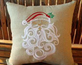 Whirly Swirly Santa Pillow, Santa Pillow, Embroidered Santa Pillow, Christmas Pillow, Decorative Christmas Pillow, Santa Claus Pillow,