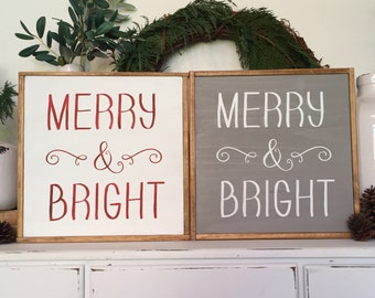 Merry and Bright, Hand Painted Sign, Home Decor