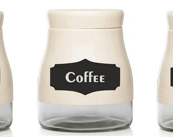 Set of Coffee/Sugar/Tea Vinyl Decal Sticker Labels for Storage Jars Canisters not included